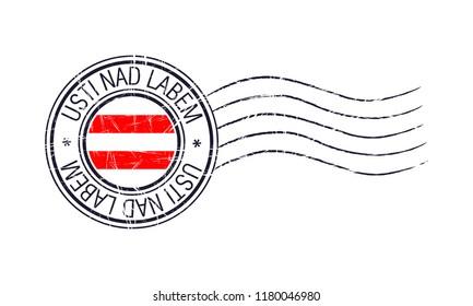 Usti Nad Labem city grunge postal rubber stamp and flag on white background