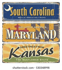 US.Vintage tin sign collection with America state. All States. Retro souvenirs or old paper postcard templates on rust background. States of America. South Carolina. Maryland. Kansas.