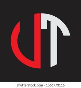 UT Initial Logo design Monogram Isolated on black background