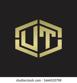 UT Logo monogram with hexagon shape and piece line rounded design tamplate on gold colors