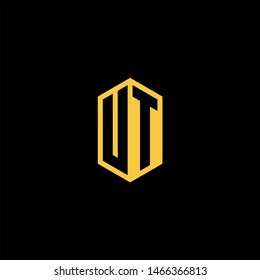 UT U T Logo Monogram with Negative Space with Gold colors - Modern Template EPS 10