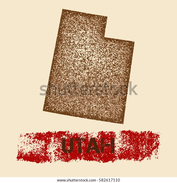 Utah distressed map. Grunge patriotic poster with textured Utah outline ink stamp and roller paint mark, vector illustration.