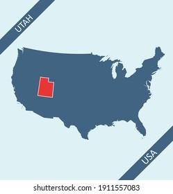 Utah highlighted on USA map