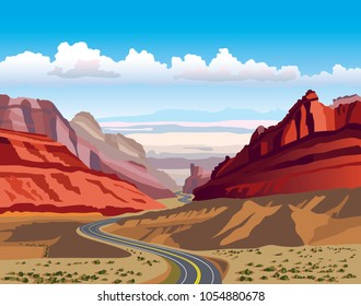Utah Landscape Vector Illustration