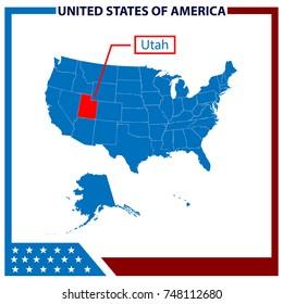 Utah Map with American Flag Frame