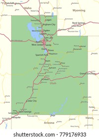 Utah map. Shows state borders, urban areas, place names, roads and highways.Projection: Mercator.
