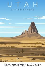 Utah modern vector illustration. Utah desert landscape,United states.