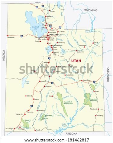 Utah National Park Map Stock Vector (Royalty Free) 181462817 ...