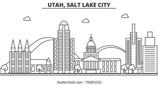 Utah, Salt Lake City architecture line skyline illustration. Linear vector cityscape with famous landmarks, city sights, design icons. Landscape wtih editable strokes