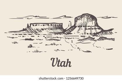 Utah skyline hand drawn. Utah sketch style vector illustration.