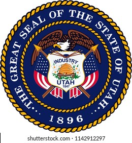 Utah State Flag Seal Love Heart United States America American Illustration