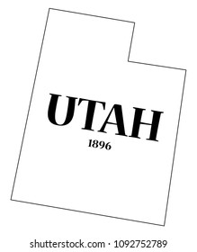A Utah state outline with the date of statehood isolated on a white background