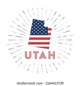 Utah sunburst badge. The us state sign with map of Utah with American flag. Colorful rays around the logo. Vector illustration.