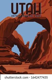 Utah Vector Illustration Background. Travel to Arches National Park in Eastern Utah, United States. Flat Cartoon Vector Illustration in Colored Style.
