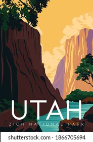 Utah Vector Illustration Background. Travel to Zion National Park Utah. Flat Cartoon Vector Illustration in Colored Style.