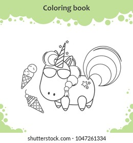 ute unicorn in sunglass eats ice cream. Coloring page for kids.