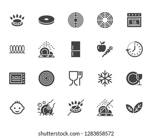 Utensil flat glyph icons set. Gas burner, induction stove, ceramic hob, non-stick coating, microwave, dishwasher vector illustrations. Signs for pan, dishes. Solid silhouette pixel perfect 64x64.