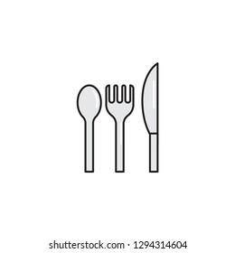 utensil set color line icon. equipment food vector illustration. Editable Stroke. simple design symbol