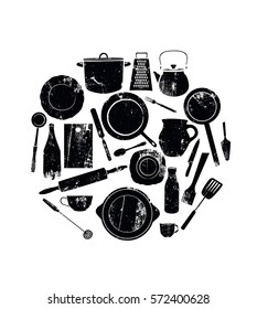 Utensils. Black Grunge Cutlery.  Kitchenware in Circle on White Background. Vector illustration.