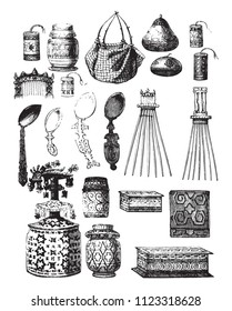Utensils vary from Timor, vintage engraved illustration. Magasin Pittoresque 1858.