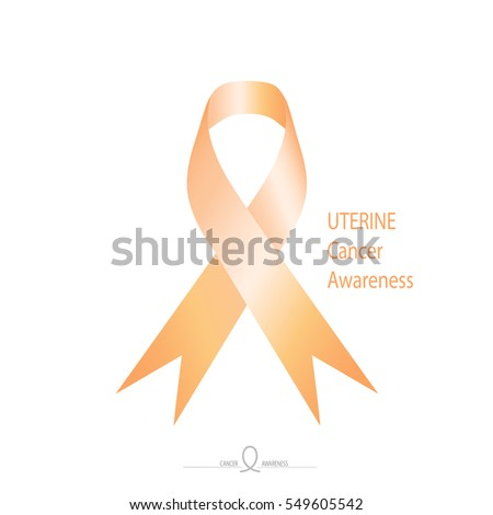 Uterine Cancer Awareness Peach Color Ribbon Stock Vector Royalty
