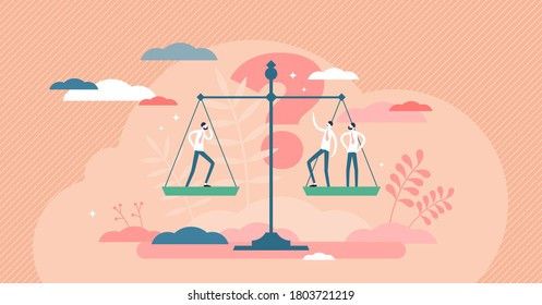 Utilitarianism normative ethical theory principle tiny person concept. Morality thinking with idea about personal or society benefit comparison vector illustration. Utility advantages on weight scales