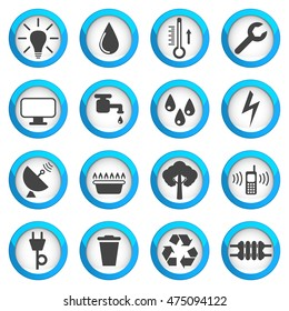 Utilities icon set, 16 signs, 2d vector illustrations on blue round pads, eps 10