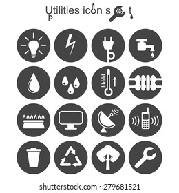 Utilities icon set, 2d illustration on round pad, vector, eps 8