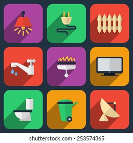 Utilities icons in flat style. Heating and  electricity, water and gas. Vector illustration
