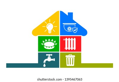 Utilities icons in flat style: water, gas, lighting, heating, phone, waste, security – stock vector