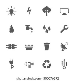 Utilities icons set, 16 icons, 2d vector illustration on white background, eps 8