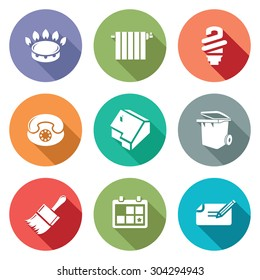Utilities Icons Set. Vector Illustration. Isolated Flat Icons collection on a color background for design