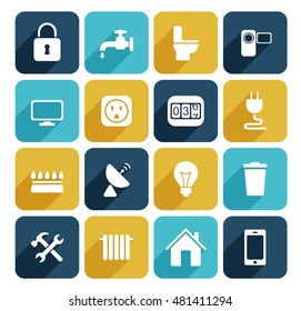 Utilities icons set. Vector illustration style is flat iconic colored symbols.