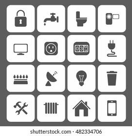 Utilities icons set. Vector illustration style is flat iconic symbols.