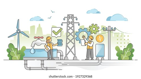 Utility expertise and maintenance repair fix after checkup outline concept. Electricity power line and water pipeline improvement work with engineer control and technician support vector illustration.