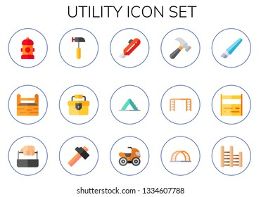 utility icon set. 15 flat utility icons.  Collection Of - fire hydrant, toolbox, hammer, cutter, ladder, quad
