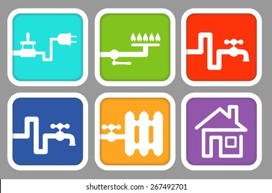 Utility icons: electricity, gas, cold water, hot water, heating and house. Vector illustration for signs, icons, logotypes, web and graphic design