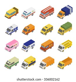 Utility Transport Icon Set. Flat 3d Isometric Collection