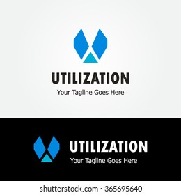 Utilization abstract vector and logo design or template business icon of company identity symbol concept