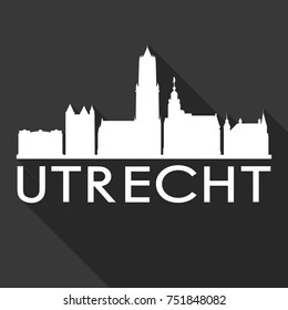 Utrecht Flat Icon Skyline Silhouette Design City Vector Art Famous Buildings