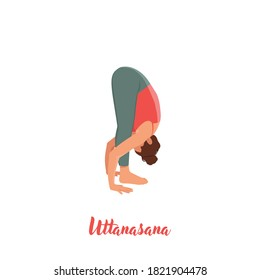 Uttanasana flat vector illustration. Standing forward bend. Caucausian woman performing yoga posture in pink and red sportswear. Workout. Isolated cartoon character on white background