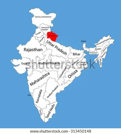 Uttarakhand State India Vector Map Silhouette Stock Vector (Royalty ...