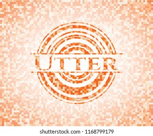 Utter abstract emblem, orange mosaic background