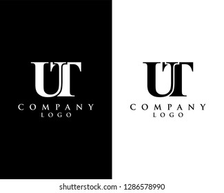 ut/tu modern logo design with black and white color that can be used for creative business and company
