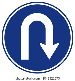 U-Turn Right Traffic Sign,Vector Illustration, Isolate On White Background Icon. EPS10