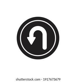 U-turn traffic sign icon design isolated on white background.
