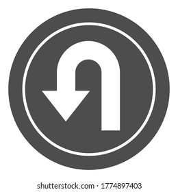 U-turn traffic sign solid icon, Navigation concept road sign with turn symbol on white background, U-Turn road sign icon in glyph style for mobile concept and web design. Vector graphics.