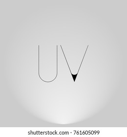 UV Black thin minimalist LOGO Design with Highlight on Gray background.