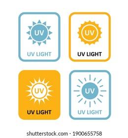 UV light labels, sterilization quartz light bulb information sign, UV-C tag icon, quartz disinfection lamp icon, vector