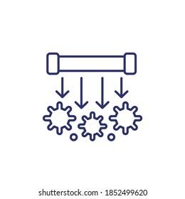 UV light sterilization, UV-C lamp line icon